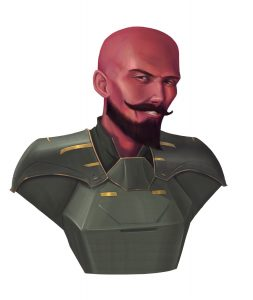Avor Stelek, red-skinned human male from Akiton in heavy armor