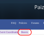 A screenshot of the My Organized Play section on paizo.com, showing how to find the boons tab.